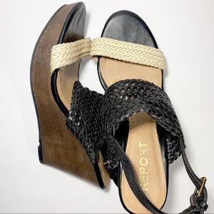 Report 7.5 braided wedge sandals black
